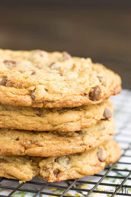 Loaded Butterfinger Chocolate Chip Toffee Cookies are completely full of candy bars and chocolate goodness.