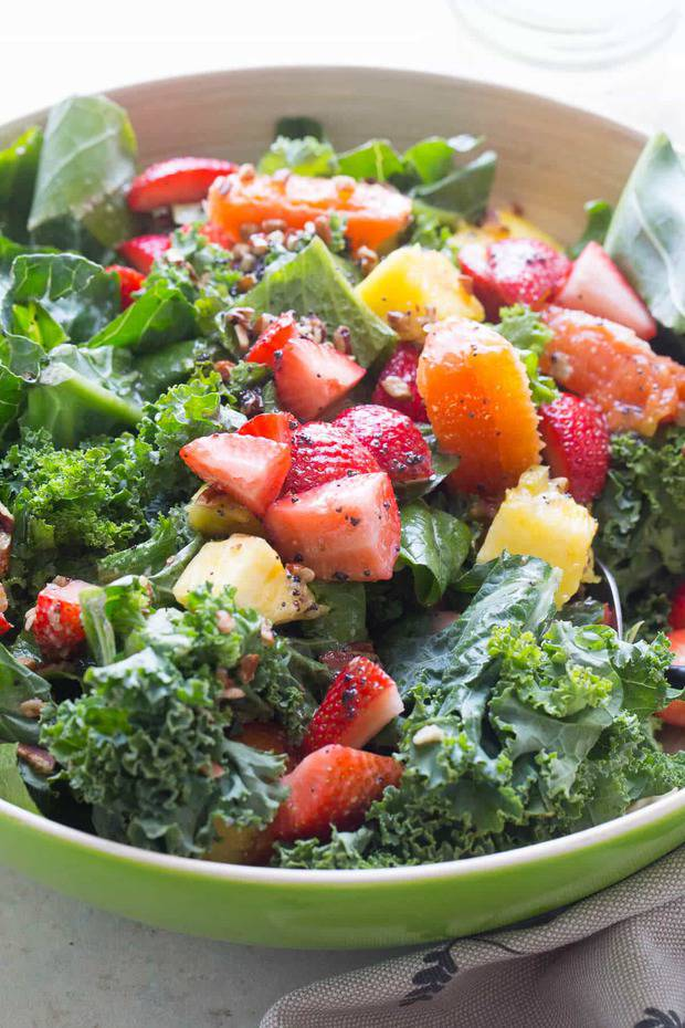 A mixed bag of greens and a variety of fresh fruits makes this citrus salad burst with flavor! The poppy seed dressing gets drizzled just before serving