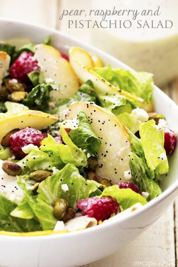 A delicious and healthy salad filled with raspberries, pears, and pistachios add a delicious flavor and crunch!