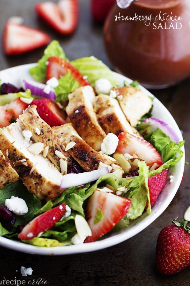 A mouthwatering salad with fresh strawberries, cranberries, goat cheese and almonds. The strawberry balsamic dressing gives it the perfect flavor and is one amazing summer salad!