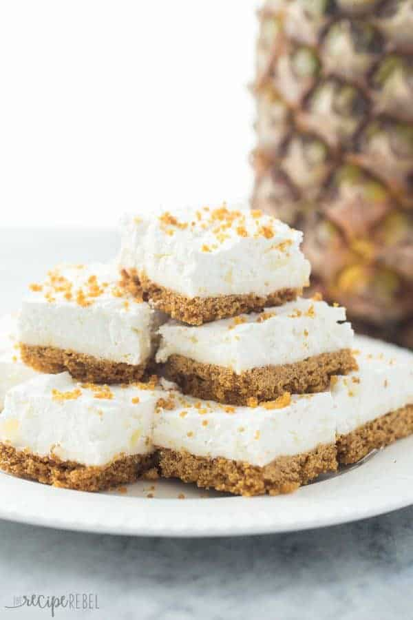 My version of my Mom's Pineapple Squares — almost no bake dessert that's perfect for Spring or Easter! Light and fluffy and full of crushed pineapple!