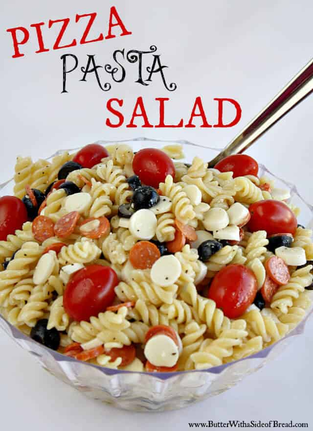 Pizza Pasta Salad is easy and is so perfect for a spring or summer party! The ingredients make an incredible flavor that everyone will enjoy