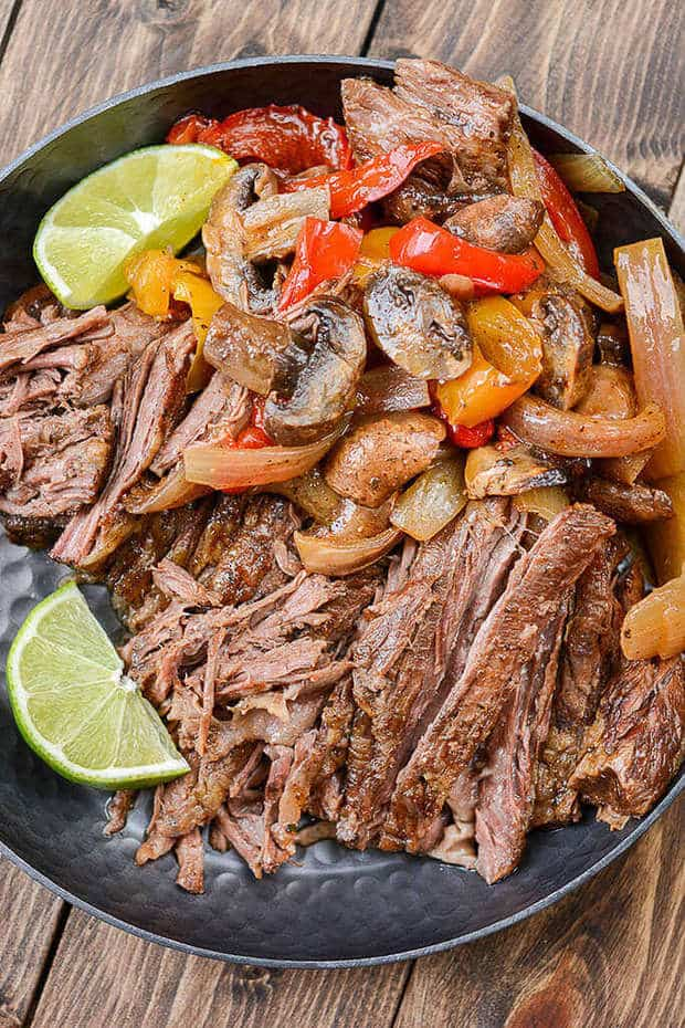 hese Slow Cooker Steak Fajitas from Slow Cooker Gourmet are easy to make, use fresh veggies, and make dinner clean up a breeze! The honey, lime, cilantro, and seasonings sauce is the perfect blend of flavors that pairs perfectly with the beef and veggies for one awesome meal!