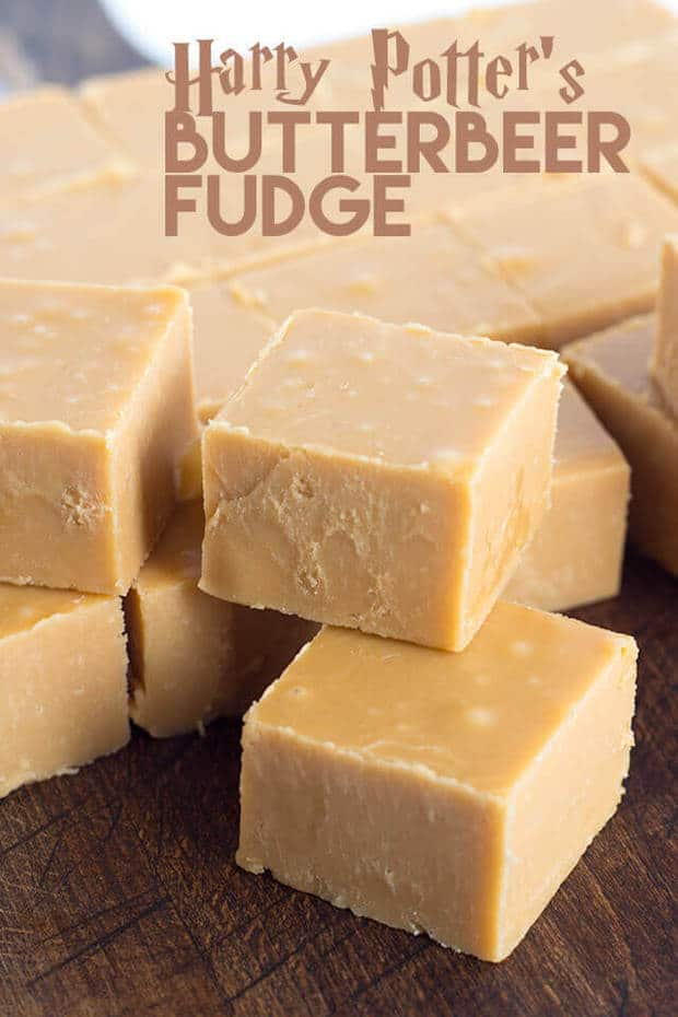 Harry Potter's butterbeer fudge is packed full of butterscotch chips and rum flavoring. It has a crumbly texture, just how I like it! Harry Potter fans will love for you making this.