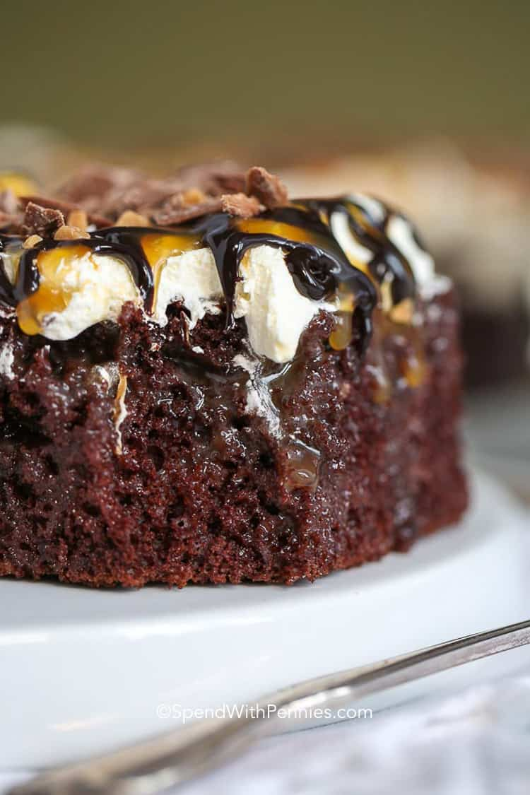Chocolate Caramel Cake is a delicious poke cake recipe that is ultra moist and delicious & fully loaded with caramel!