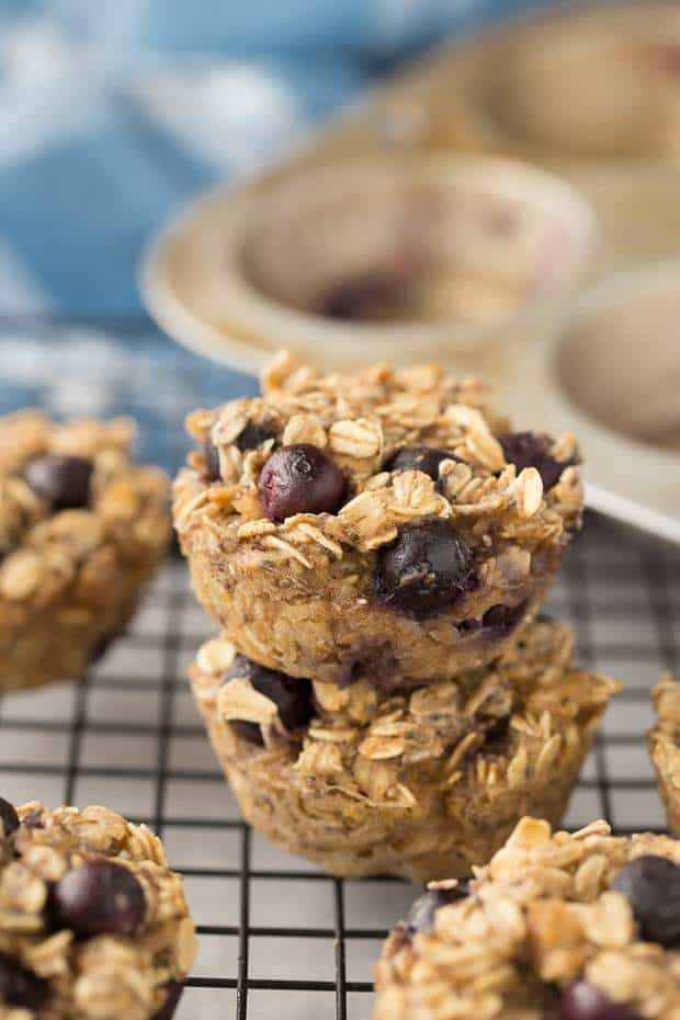 Baked Blueberry Oatmeal Cups -- Part of The Best Blueberry Recipes