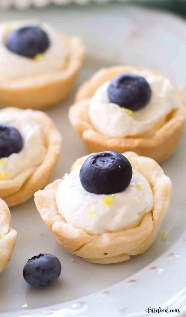 Mini Lemon Blueberry Cream Tarts — These mini lemon blueberry cream tarts are tasty, adorable, and could not be easier!