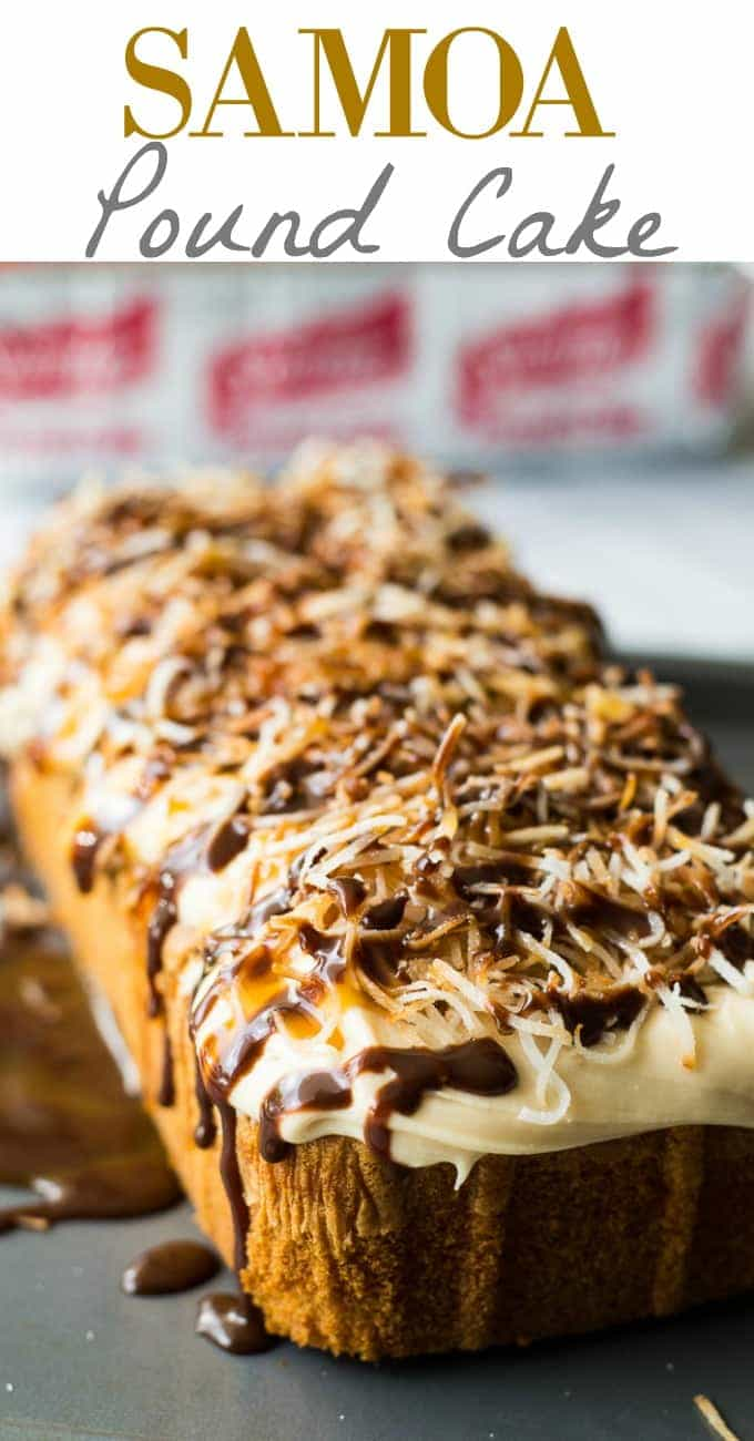 An easy to make dessert! Samoa Pound Cake topped with a fluffy caramel buttercream frosting, toasted coconut, and a decadent drizzle of caramel and chocolate on top.