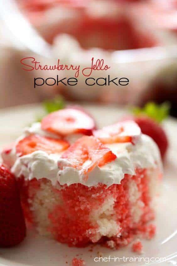 14 Strawberry Jell-O Poke Cake