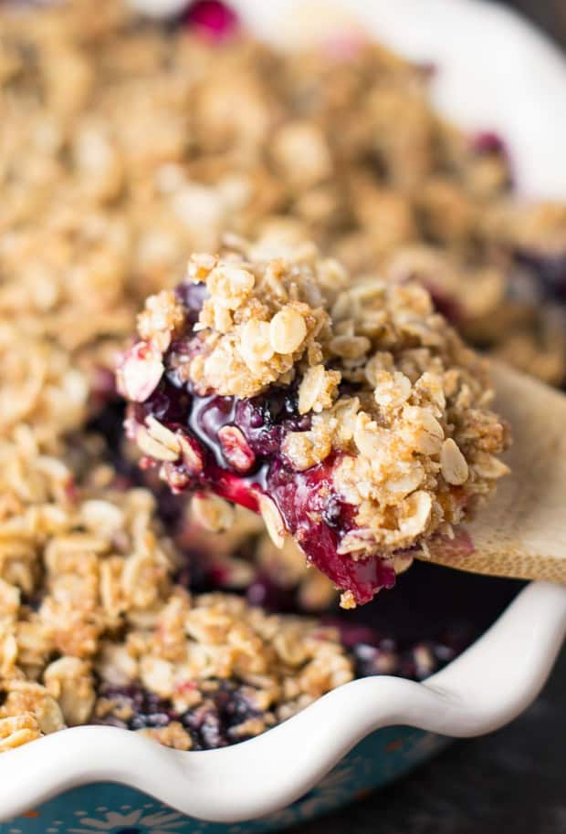 Vegan Blueberry Peach Crisp -- Part of The Best Blueberry Recipes