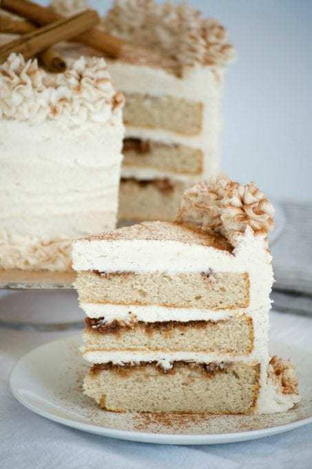 This cake is an 8-inch three layer cake with each layer covered in a cinnamon glaze and completely frosted with a incredible cinnamon frosting. It's like a cinnamon roll in the form of dessert!