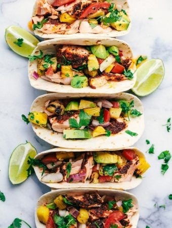 Grilled Spicy Blackened Salmon Tacos with Pineapple Avocado Salsa -- Part of The Best Taco Recipes