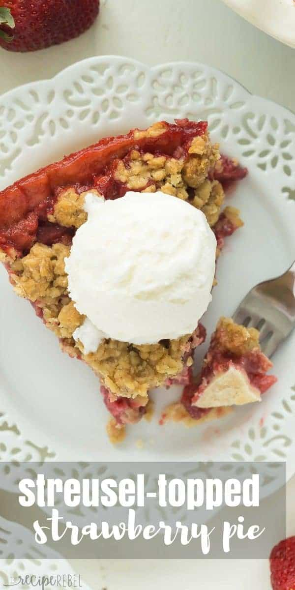 Streusel Topped Fresh Strawberry Pie-- Part of The Best Strawberry Recipes