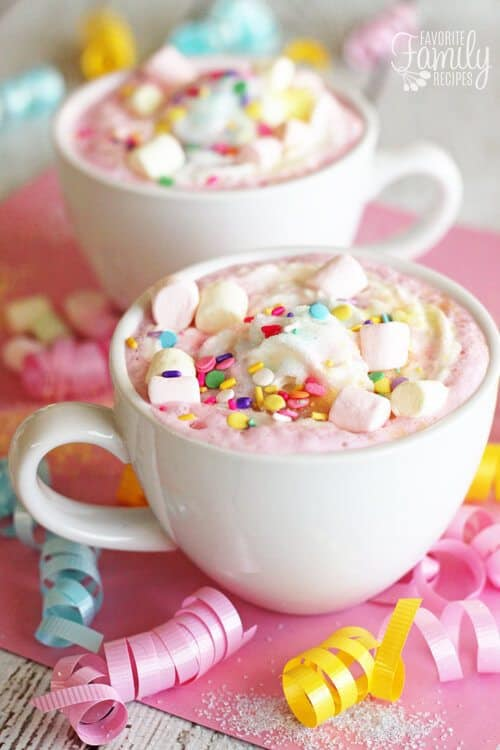 This Unicorn Hot Chocolate Recipe will make your childhood dreams come true. It is so sweet and creamy, you can't help but smile when drinking it!