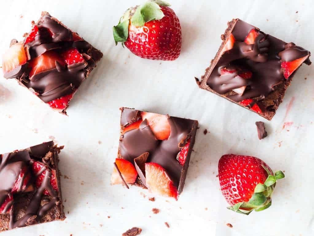 Chocolate Covered Strawberry Brownies-- Part of The Best Strawberry Recipes