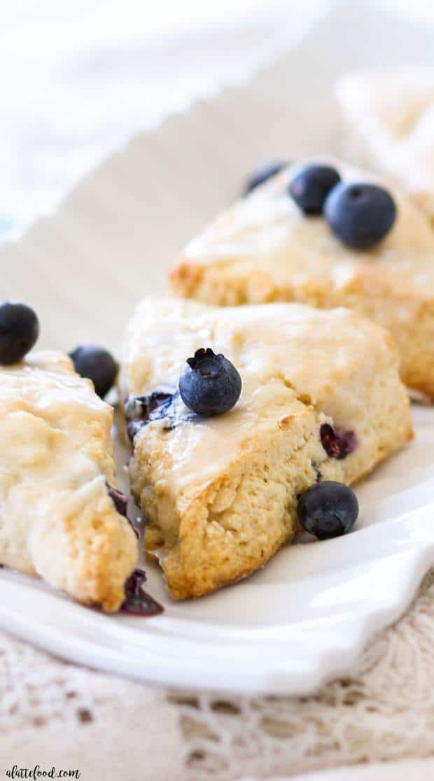 Blueberry Cream Cheese Scones with Vanilla Glaze -- Part of The Best Blueberry Recipes