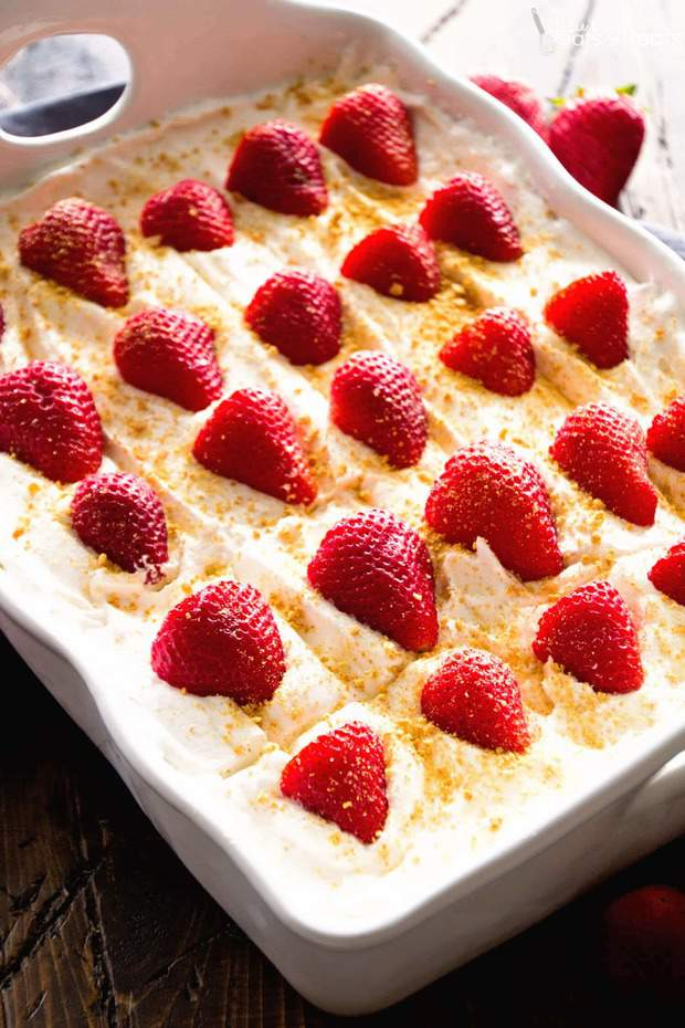No Bake Strawberry Cheesecake Icebox Cake-- Part of The Best Strawberry Recipes
