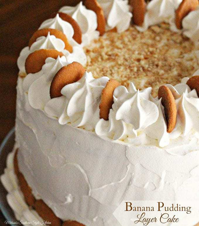 Banana Pudding Layer Cake is tall, and I mean skyscraper tall. It's an impressive addition to your dessert table.