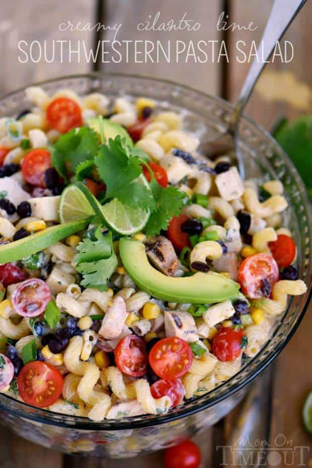 This Creamy Cilantro Lime Southwestern Pasta Salad recipe is satisfying enough for an easy dinner or a tasty addition to any party, BBQ or get together! Grilled chicken, black beans, corn, tomatoes, and a creamy cilantro lime dressing make this pasta salad exceptionally delicious!