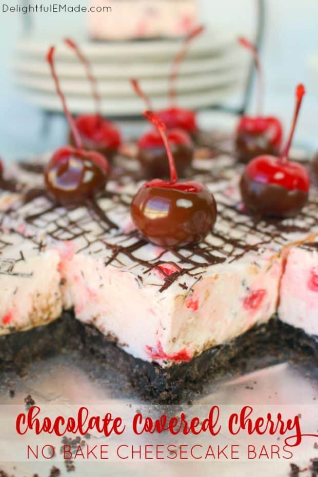 No bake cheesecake bars don't get any better than this!  Made with an OREO crust, a creamy no bake cherry cheesecake filling, and topped with a chocolate drizzle and chocolate dipped cherries, these bars are incredible.  Easy to make, and completely delicious!