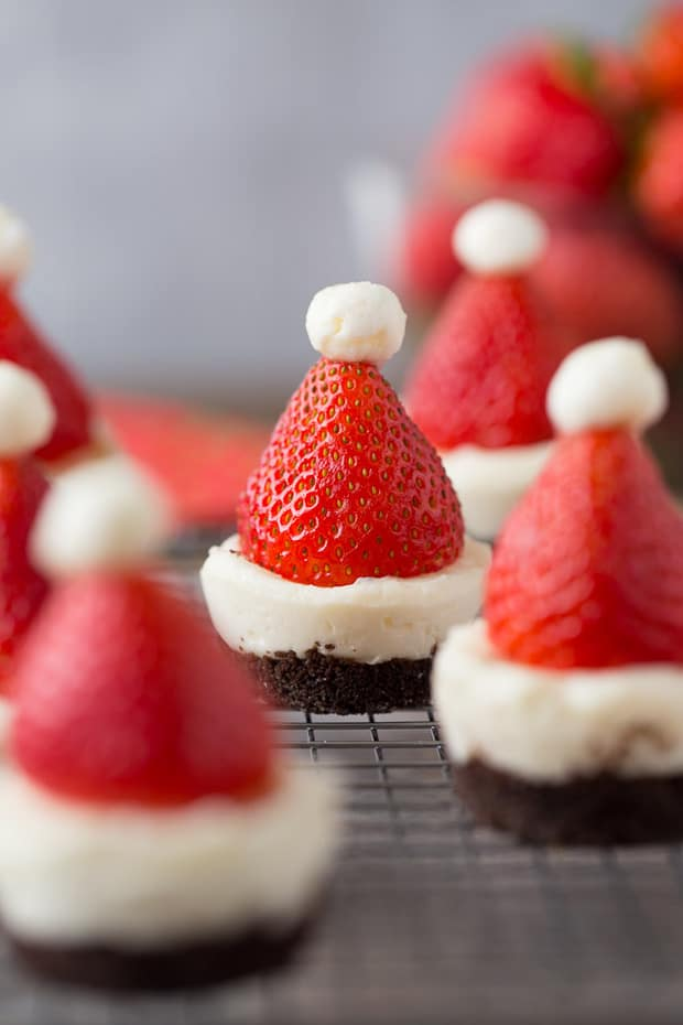 Mini No Bake Santa Cheesecakes -- part of The Best No Bake Cheesecakes that ALWAYS Impress