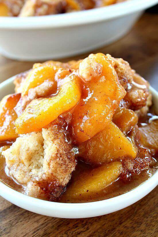 The mixture of the peaches, with the cinnamon and the juices, smell SO GOOD!!