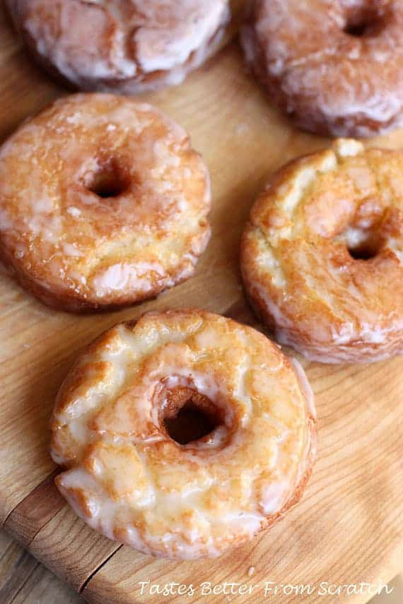 Old fashioned sour cream donuts are perfectly soft and sweet.  While I can't argue that donuts are the healthiest things, I do believe that anything you make at home is healthier than the equivalent that what you would buy at the store!