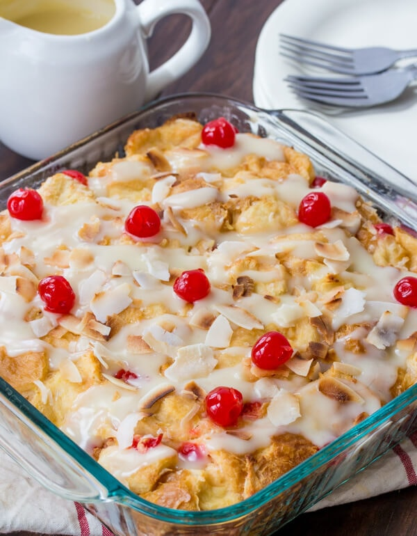 A fruity, coconuty, flavorful treat this Pina Colada Bread Pudding is perfect for breakfast, brunch or dessert!