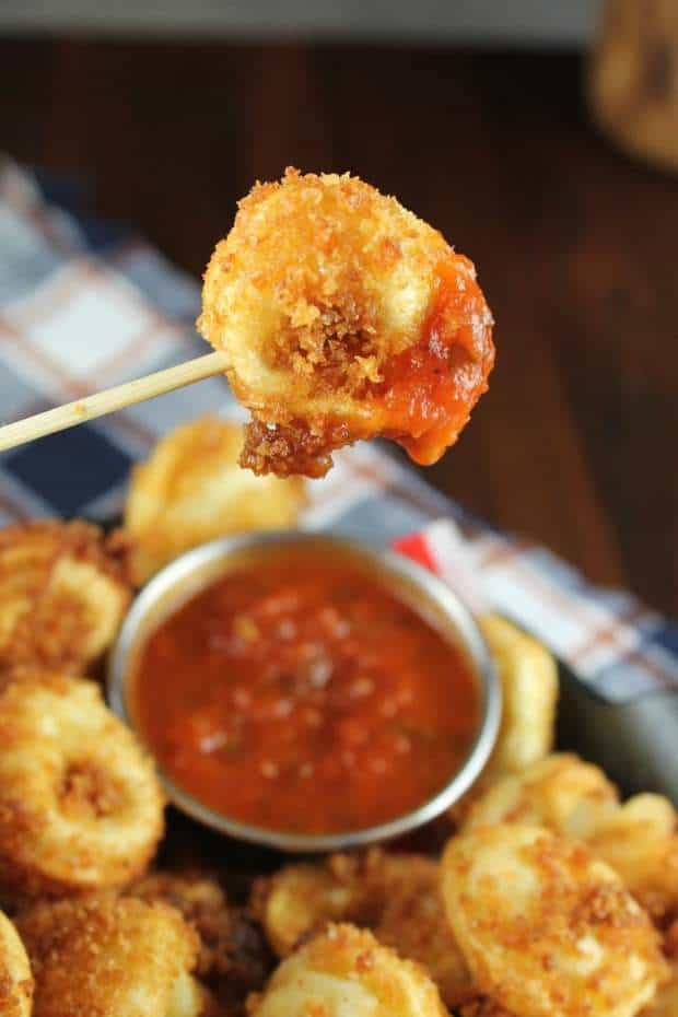 Fried Tortellini is the perfect party appetizer recipe. Bites of crispy, crunchy pasta filled with cheese and even better when dipped n classic marinara.