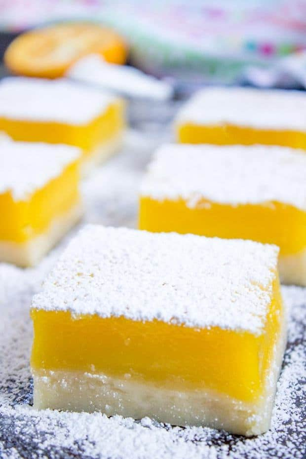 Easy Lemon Bars with just 5 Ingredients are a 50 year old recipe that are rich, sweet and tart.