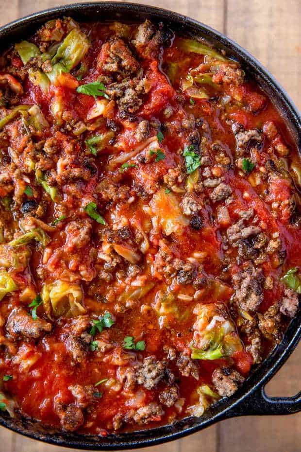 Stuffed Cabbage Soup made with ground beef, rice, cabbage and fresh tomato sauce on your stove-top in just thirty minutes