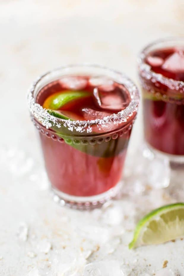 This easy pomegranate margarita is fast, easy to throw together, refreshing, and delicious! It uses pomegranate juice, so this drink can be enjoyed year-round. Ready in 5 minutes!