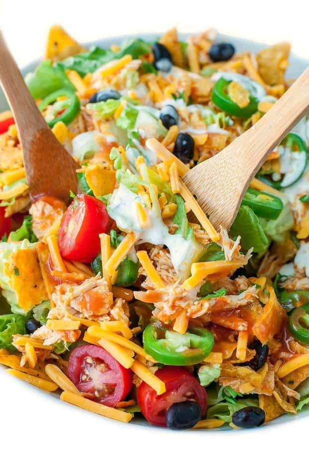 This tasty buffalo chicken taco salad is a fun twist on the classic!