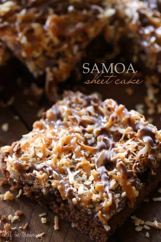 Samoa Sheet Cake -- Part of The Very Best Sheet Cake