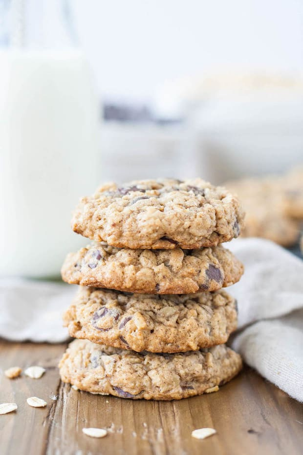 The only oatmeal cookie recipe you will ever need! Soft and chewy oatmeal chocolate chip cookies loaded with oats and chocolate chips!