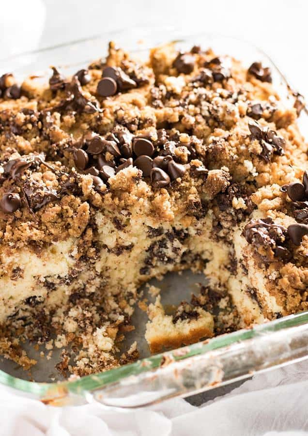 Chocolate Chip Coffee Cake – This delicious chocolate chip cake is perfect for breakfast with a hot cup of coffee! Super moist and tender from the addition of sour cream, easy to make from scratch!