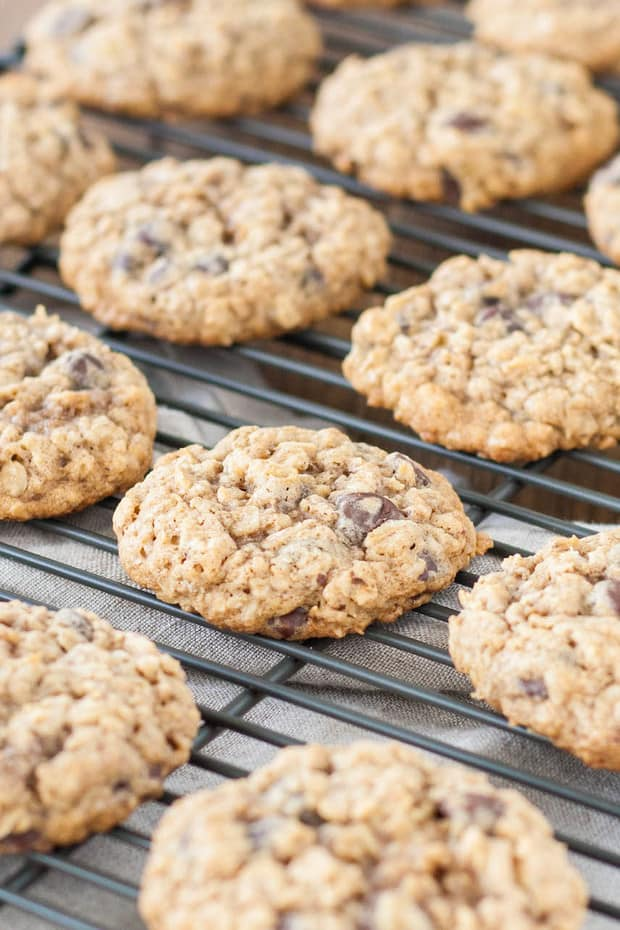 Perfect Soft and Chewy Oatmeal Chocolate Chip Cookies. Loaded with oats and chocolate chips!