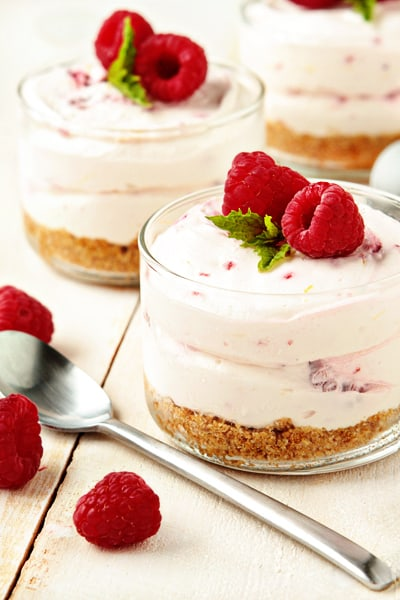 In about 15 minutes, you can whip up this light, fluffy no bake cheesecake dessert that's perfect for a weeknight meal, but elegant to serve at a weekend get together.