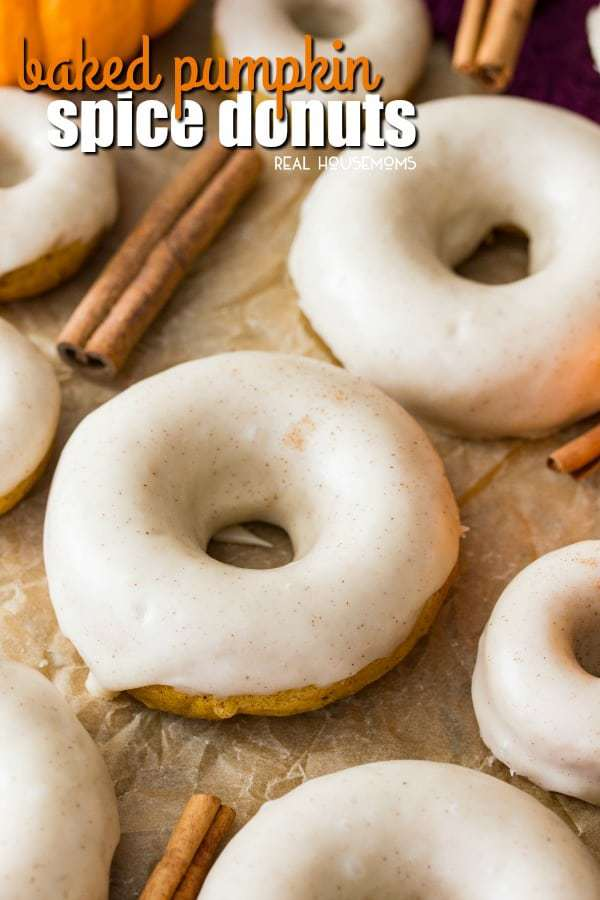 Soft and fluffy Pumpkin Spice Donuts covered in a buttery, seasonally spiced glaze frosting! Theae donuts are baked, not fried, for a slightly lighter breakfast treat!