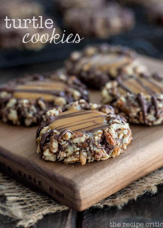 It is a delicious chocolate cookie. And I loved the pecan pieces that gave the cookie great texture and that extra nutty flavor. But hello! The best part was definitely when you bite into the delicious cookie and get the chewy caramel center.  These cookies look so pretty once they are baked. A great cookie recipe to add to the collection.