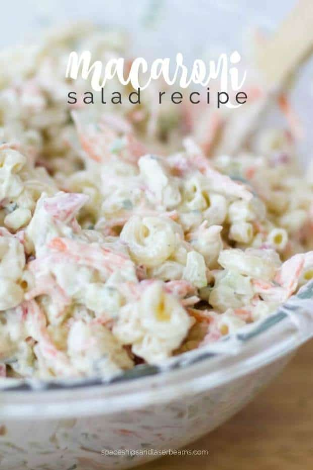 The thing about a macaroni salad recipe is it's quick and easy to make, with very little cooking and one batch makes several servings.