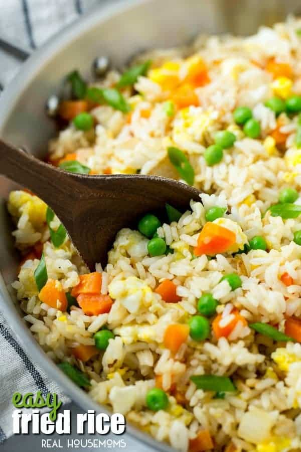 his Easy Fried Rice is a great reason to skip the take out! It's full of veggies and is WAY better than what you'd get at a restaurant!