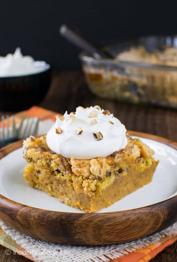 This Easy Pumpkin Crunch Cobbler is delicious served hot or cold.  The crunchy topping and the creamy pumpkin layer is a fall treat we look forward to every year.S