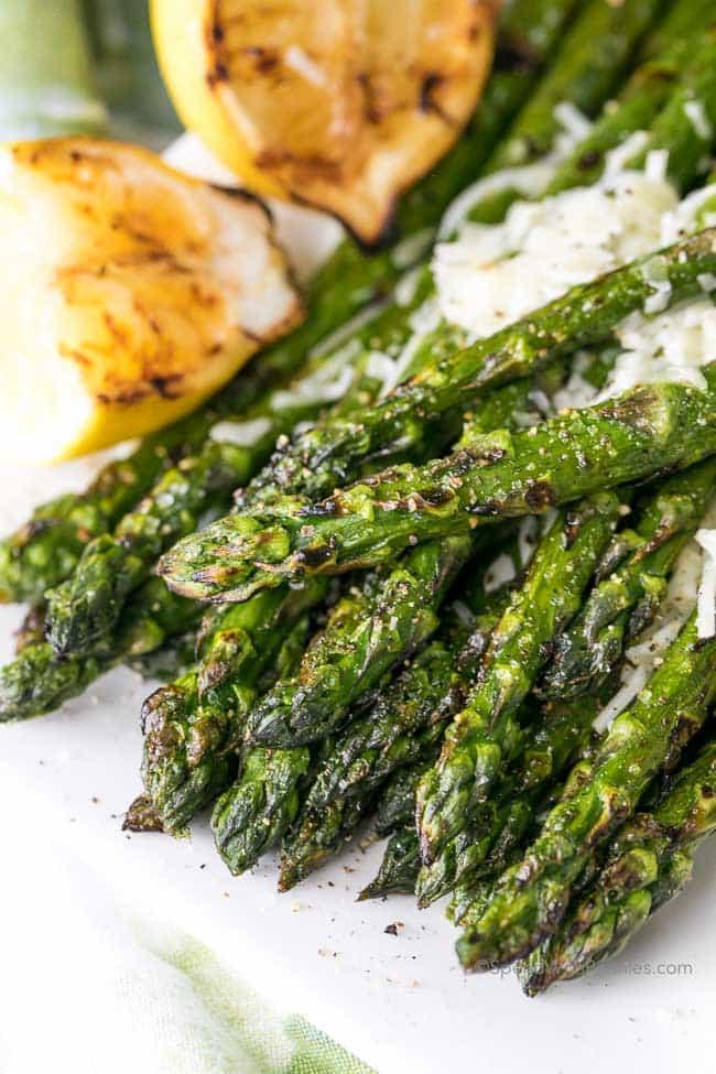 Lemon Parmesan Grilled Asparagus -- Part of The Best Parmesan Recipes