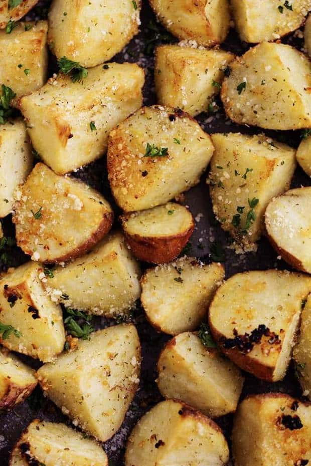 Parmesan Garlic Roasted Potatoes -- Part of The Best Parmesan Recipes