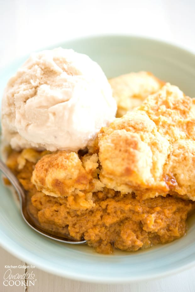 If you love pumpkin pie then this pumpkin cobbler is for you! A pumpkin spice custard base with a flaky cobbler topping is the perfect no-fuss dessert for the season. Top with ice cream or whipped cream for a special treat everyone will love!