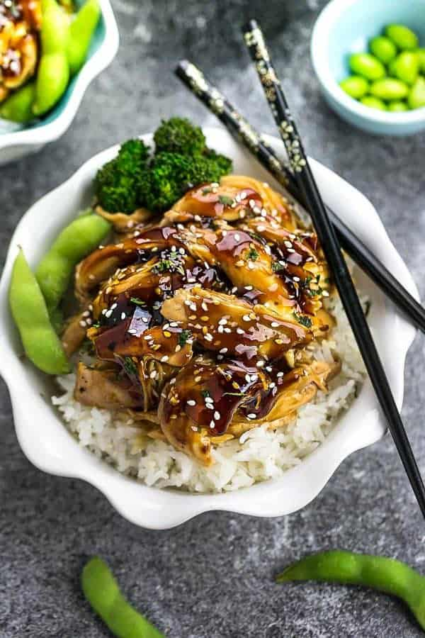 Slow Cooker Teriyaki Chicken – this recipe is the perfect set and forget meal with a delicious homemade teriyaki sauce. Best of all, just 10 minutes of prep made in a crock-pot or your Instant Pot pressure cooker. Plus step-by-step recipe video!