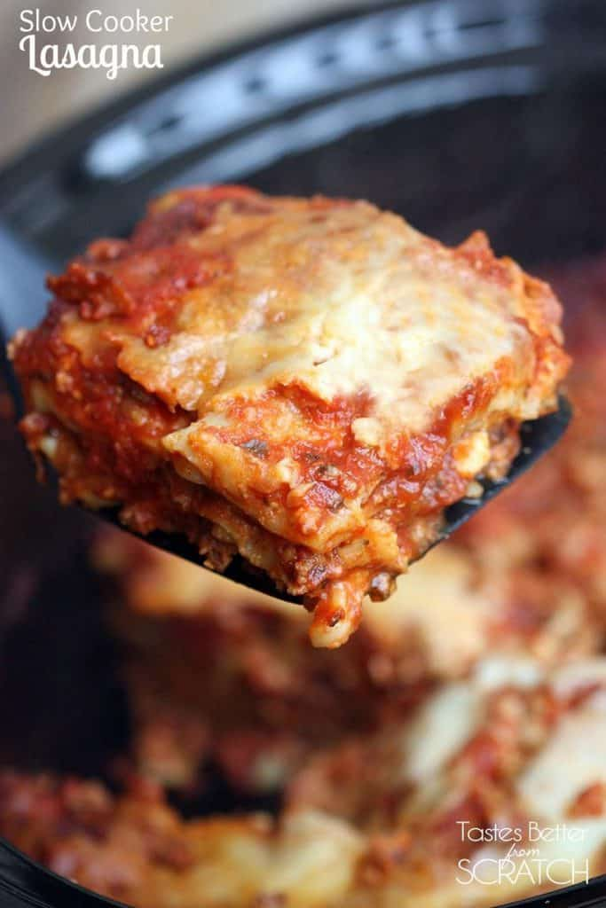 Lasagna just got so much easier with this Slow Cooker Lasagna! Layer everything in the crockpot–even un-cooked noodles!