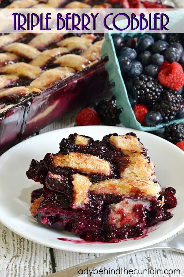 Cobbler is always a family favorite at any gathering. This cobbler is full of blackberries, blueberries and raspberries with just the right amount of tang and sweetness.