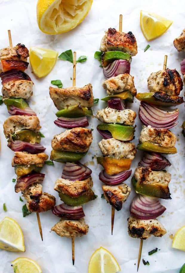 Greek inspired Lemon Chicken Kebabs made on the stove top
